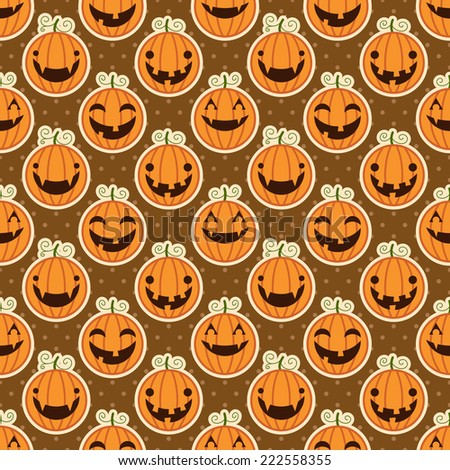 Seamless brown pattern with Halloween pumpkins. Vector illustration - stock vector
