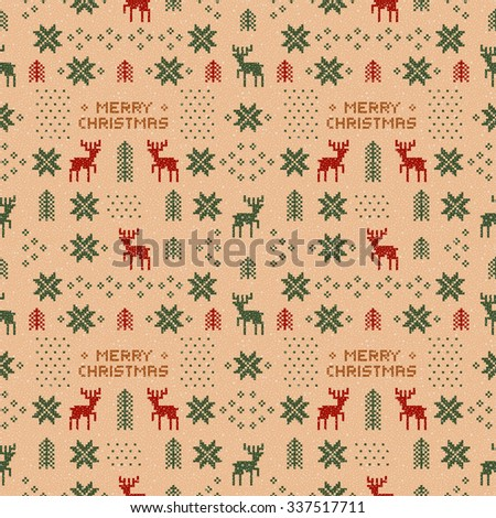 seamless brown retro christmas pattern with deers, trees and snowflakes. - stock vector
