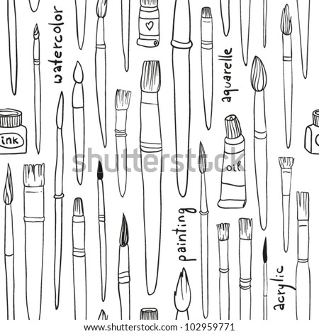 Seamless Brushes and Paint Pattern - stock vector