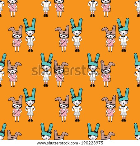 Seamless bunny hipster girls illustration background pattern in vector - stock vector