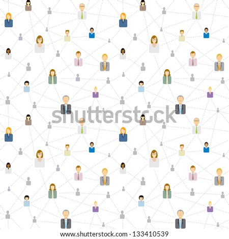Seamless business social network pattern - stock vector