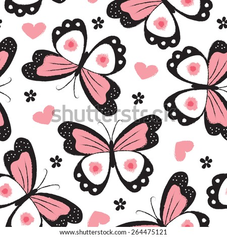 seamless butterfly pattern vector illustration - stock vector