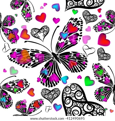 Seamless butterfly with hearts background. Vector - stock vector
