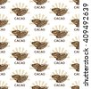 Seamless cacao beans pattern. Elegant cocoa pattern. Pattern with cacao fruits. Vector cacao background. - stock vector