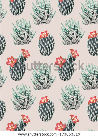 seamless cactus print vector pattern background - stock vector