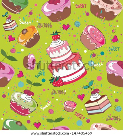seamless cake pattern - stock vector