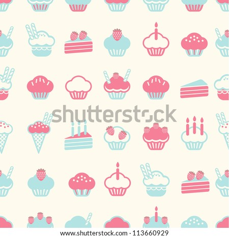 seamless cake pattern soft vintage color style. Vector illustration - stock vector