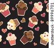 seamless cake pattern. Vector illustration - stock