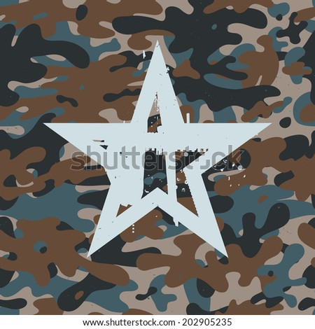 Seamless camouflage pattern background with star symbol - stock vector
