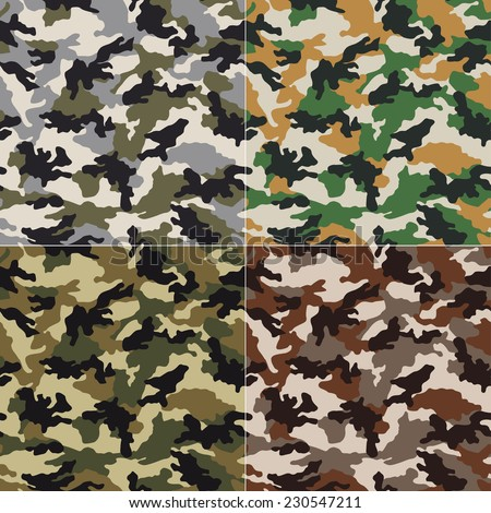 seamless camouflage pattern design - stock vector