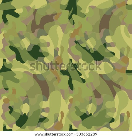 Seamless camouflage pattern. Expressive forest shadow palette. Military textile collection. Abstract vector background. Light green, dark green, khaki grey, green stripes. Backgrounds & textures shop. - stock vector