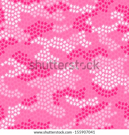 Seamless camouflage pattern made of small stars in pink colors - stock vector