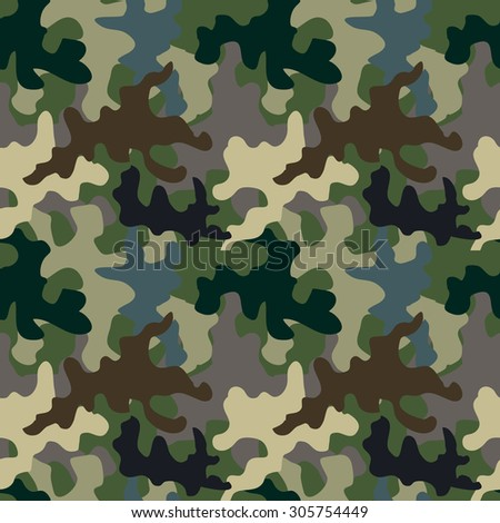 Seamless camouflage pattern. Military textile collection. Abstract vector background. Grey, green, brown on dark. Backgrounds & textures shop. - stock vector