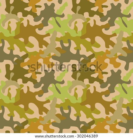 Seamless camouflage pattern. Rich shadow palette. Military textile collection. Abstract vector background. Green, brown, khaki, grey on beige. Backgrounds & textures shop. - stock vector