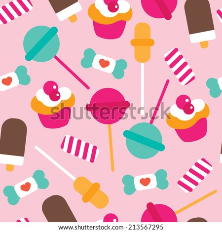 Seamless candy lollipop ice cream and cupcake colorful kids illustration background pattern in vector - stock vector