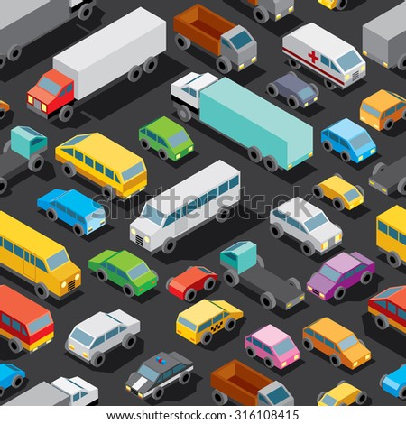 Seamless Car Parking Patter. Various Isometric Automobiles, Trucks, Buses. Vector Pattern - stock vector