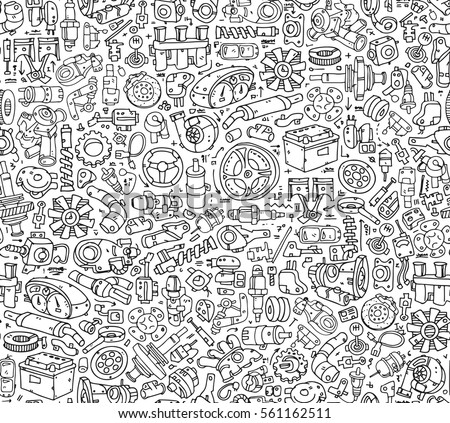 Seamless Car Spare Parts Pattern Tiles Hand Drawn Contour Details Isolated On The White Background