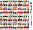 seamless cartoon car pattern - stock vector