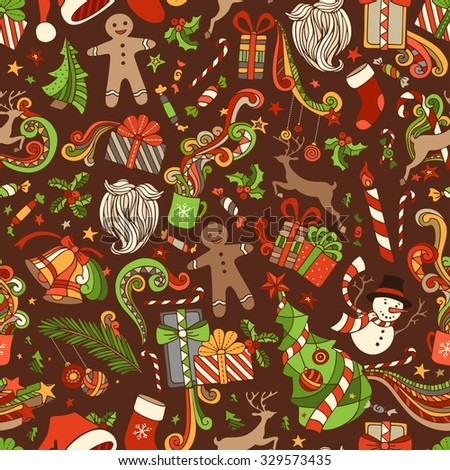 Seamless Cartoon Christmas Pattern. Vector Christmas tree and baubles, Santa sock, hat, beard, mistletoe, gifts, candy canes, snowman, sweets, swirls, gingerbread man, deer, bells and ribbons, stars. - stock vector