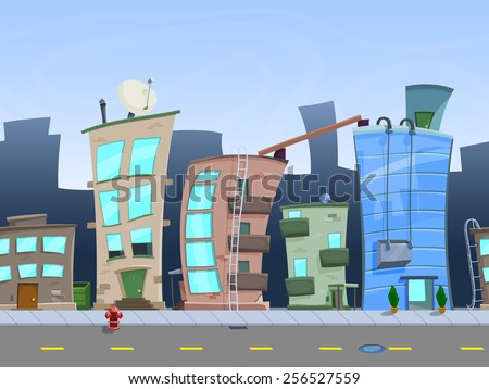 Seamless cartoon city landscape, vector unending background with road, buildings and sky layers. - stock vector