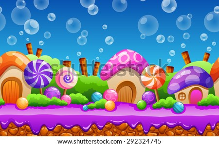 Seamless cartoon fairy tale landscape. Candy land illustration for game design. - stock vector