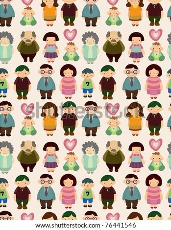 seamless cartoon family pattern - stock vector