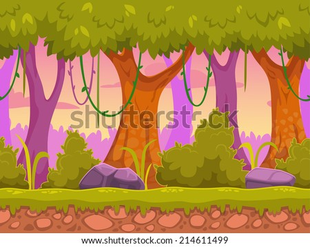 Seamless cartoon forest landscape, vector unending background with ground, bushes, trees and sky layers - stock vector