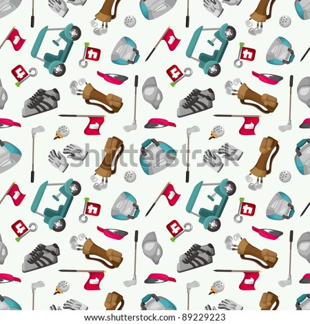 seamless cartoon golf game pattern - stock vector