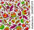 Seamless cartoon hand-drawn pattern with flowers. Endless floral pattern. Can be used for wallpaper, pattern fills, web page background,surface textures, textiles. - stock vector