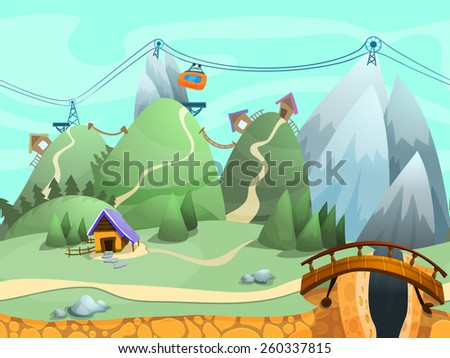 Seamless cartoon hills landscape, vector unending background with ground, hills, mountains and sky layers.