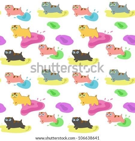 seamless cartoon kitten pattern - stock vector
