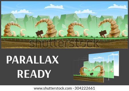Seamless cartoon nature landscape, vector unending background with separated layers for game. - stock vector