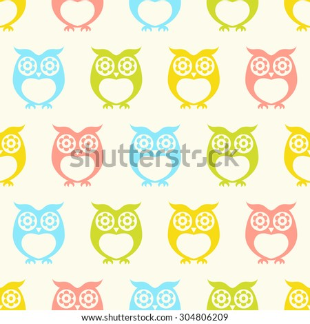 seamless cartoon owls background pattern - stock vector