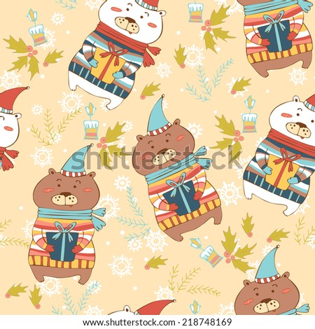 Seamless cartoon pattern with bears. Polar bear and brown bear holding gifts. - stock vector
