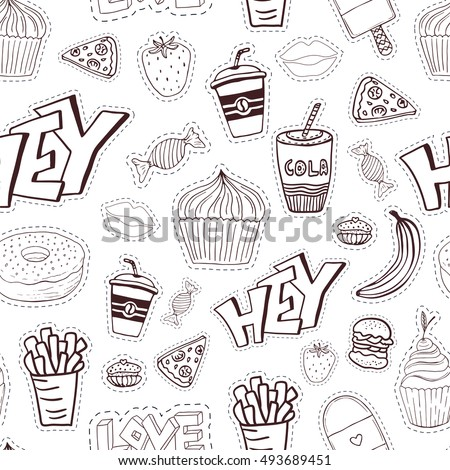 Seamless cartoon pattern with fast food. Cartoon background in trendy style. Vector linear wrapping paper and menu design