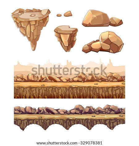 Seamless cartoon stones and bridge for game design. Vector elements in separate layers. Ui art interface, nature landscape, road and level illustration - stock vector