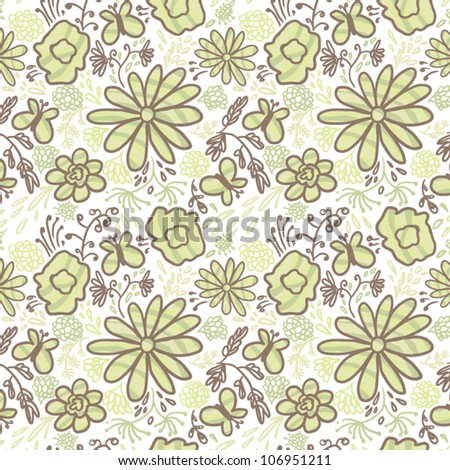 Seamless cartoon texture with flowers. - stock vector