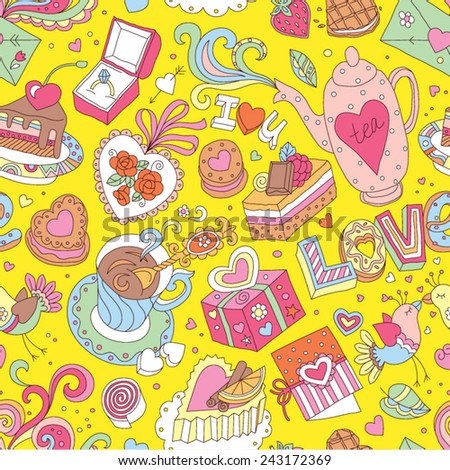 "Seamless cartoon vector pattern for Valentine's Day. Hearts, ""Love"" lettering, cakes, birds, cards and other romantic elements on a yellow background."