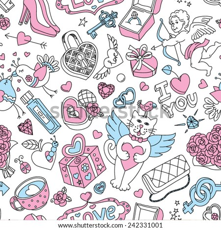 "Seamless cartoon vector pattern for Valentine's Day. Hearts,  ""Love"" lettering, flying cats, cupids, birds and other fun elements on a white background."