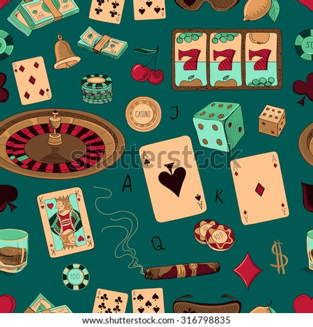 Seamless casino hand drawn pattern with a hand of aces playing cards, dice, roulette board, casino chips or tokens and lucky number 777 - stock vector