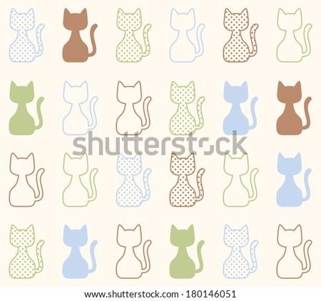 seamless cat pattern - stock vector