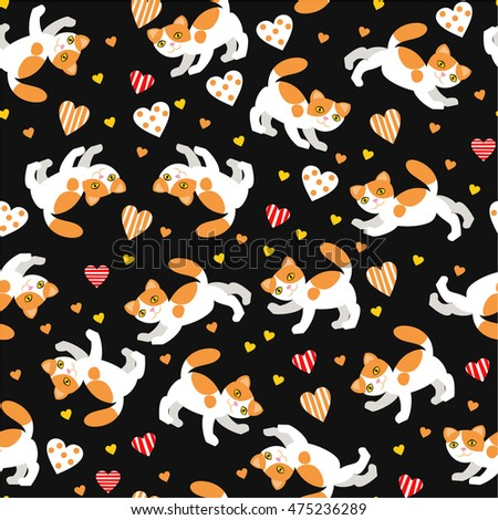 seamless cats background vector illustration