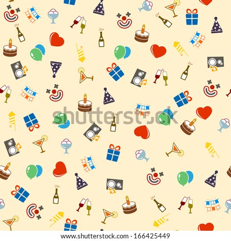 Seamless celebration and party background vector illustration - stock vector