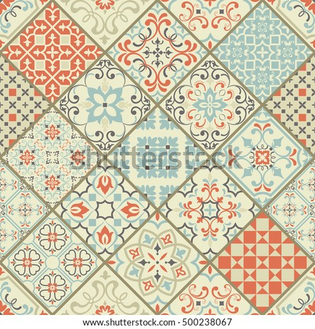 Seamless Ceramic Tile Colorful Patchwork Vintage Stock