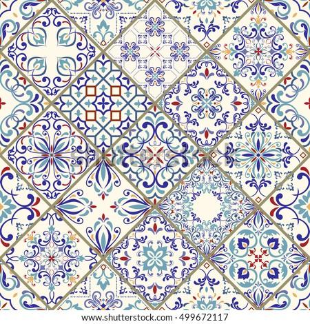 Seamless ceramic tile colorful patchwork vintage stock vector 499672117 shutterstock