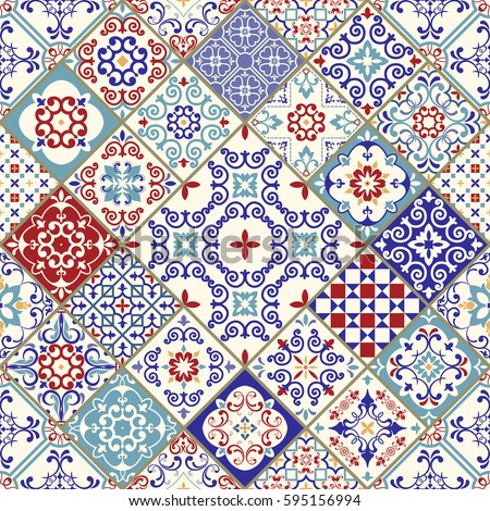Seamless Ceramic Tile Colorful Patchwork Vintage Stock Vector ...