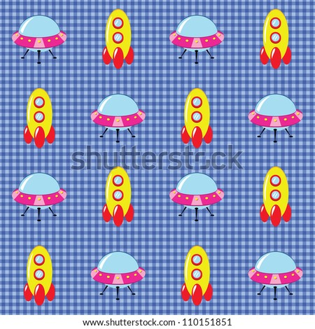 Seamless checked blue pattern with spaceships and flying saucers. - stock vector