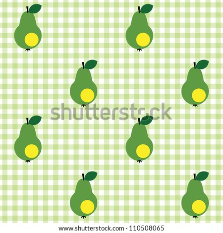 Seamless checked green and white pattern with pears. - stock vector