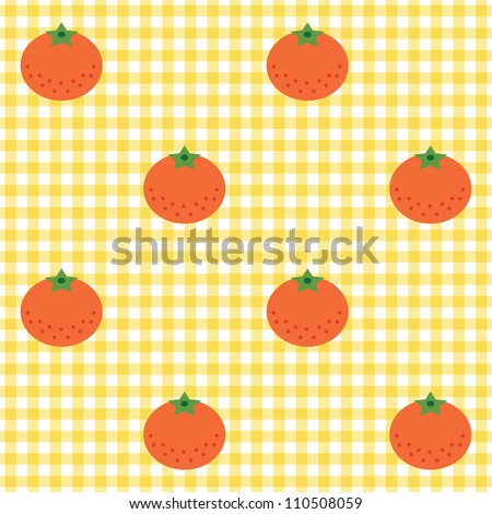 Seamless checked yellow and white pattern with tangerines. - stock vector