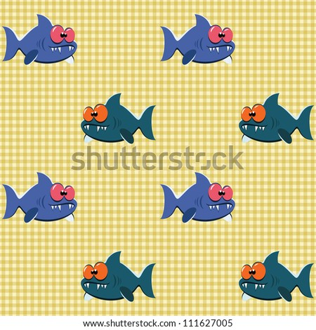 Seamless checked yellow pattern with goofy cartoon sharks. - stock vector